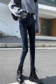 牛仔裤女小脚裤2020秋装新款百搭显瘦高腰宽松弹力加绒长裤4个色
