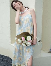 实拍 扎染吊带裙2021夏新款韩版V领显瘦显白肩带可调节长款仙女裙
