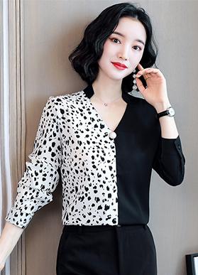 实拍轻奢撞色真丝衬衫女设计感小众轻熟衬衣2020年秋季长袖上衣潮