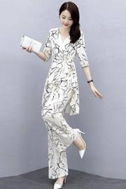 单/套装韩版高腰垂感阔腿裤女神范2020夏新款时尚洋气大码套裤女