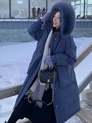 网图  夏诗文网图 网红毛领连帽羽绒棉服中长款女冬新款收腰加厚