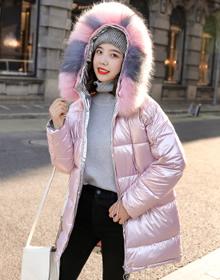 实拍冬季亮面棉服女2019新款韩版宽松中长款过膝羽绒棉衣棉袄外套