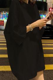 747#官方图【牛奶丝180克】9色宽松短袖中长款5分袖纯色上衣服