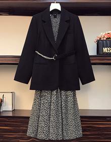 實拍2020秋裝韓版大碼時尚氣質西裝外套減齡碎花連衣裙兩件套女
