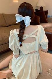 【长款/短款】超仙森系V领小心机后背镂空收腰显瘦初恋闺蜜连衣裙