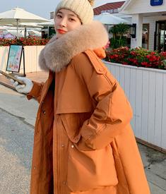 实拍夏诗文羽绒棉服新款洋气中长款棉袄宽松加厚过膝外套女棉衣潮