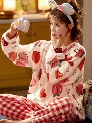 睡衣女秋冬季珊瑚绒加绒加厚可外穿法兰绒学生卡通韩版家居服套装