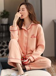 秋冬季女士睡衣纯棉加厚保暖夹层款开衫长袖长裤家居服套装可外穿