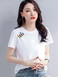 【短袖】2021夏季新款短袖t恤女休闲百搭纯棉韩版宽松圆领直播爆款