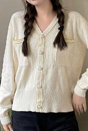 350#实拍现货~时尚G家双G提花暗花设计百搭女v领长袖针织开衫2021