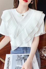 时尚house实拍6580#短袖t恤女2021年网红同款圆领蕾丝边百搭上衣