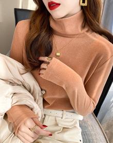 双面德绒堆堆领打底衫女冬季百搭高领修身内衬白色长袖T恤上衣服