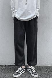 运动裤男束脚休闲长裤男士秋季潮阔腿裤卫裤针织宽松加绒灰色篮球