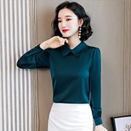 实拍设计感小众2020秋季新款时尚洋气长袖醋酸缎面女士衬衣