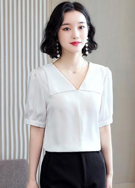 实拍时尚泡泡袖纯色翻领衬衫女2021夏装新款设计感小众上衣