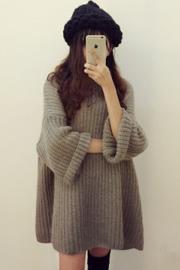 韩国马海毛粗针织毛衣蝙蝠袖女套头加厚学生中长款连衣裙宽松慵懒