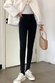 黑色加绒牛仔裤女修身显瘦小脚高腰显高紧身铅笔裤秋冬2020年新款