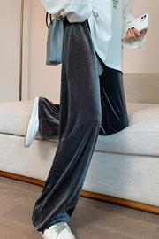 实拍250克 金丝绒阔腿裤女秋款高腰垂感宽松裤子休闲直筒拖地裤裤