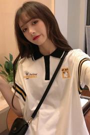 261(实拍图6535棉)短袖T恤女夏宽松学生体桖日系翻领Polo衫