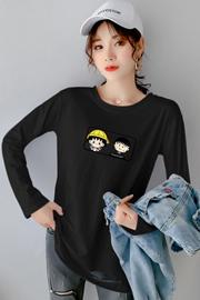 实拍(180克牛奶丝)大码破洞女装2020秋装宽松韩版长袖T恤女上衣