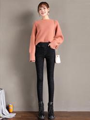 冬季加绒牛仔裤女高腰加厚保暖韩版弹力显瘦外穿小脚裤子2020新款