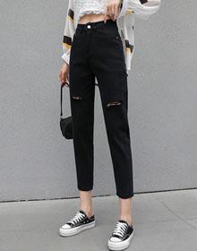 黑色牛仔裤女夏季2021年新款潮宽松直筒显瘦破洞小个子九分老爹裤