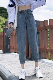牛仔裤女冬装2020年高腰颜值显高显瘦宽松加绒阔腿哈伦萝卜老爹裤