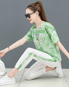 时尚运动套装女2021夏季新款洋气字母印花短袖T恤气质休闲两件套