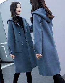 毛呢外套女2020新款秋冬装韩版宽松中长款连帽复古呢子大衣女