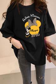 875#【180克双磨牛奶丝】夏季新款潮短袖学生慵懒印花中长款T恤女