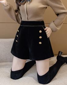 大码黑色金丝绒短裤2020冬季外穿打底靴裤韩版高腰A字阔腿休闲裤