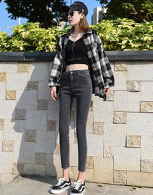 2020秋装新款女装弹力小脚裤两个颜色牛仔裤女3233#
