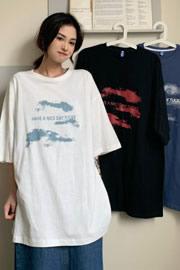 005#【实价】(实拍65/35拉架棉)原宿风短袖T恤女宽松字母印花上衣