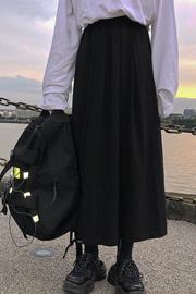 8038#【实拍】秋装新款韩版学生中长款a字裙黑色ins超火半身裙