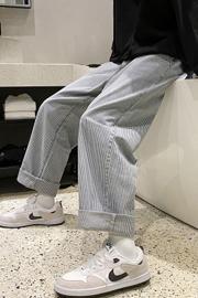 2020秋冬复古条纹90年代直筒牛仔裤男宽松潮牌ins网红坠感阔腿裤