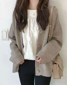 现货韩国秋毛衣女开衫潮2020新款女装时尚显瘦V领针织衫大码外套