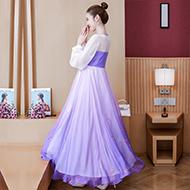 实拍现货8932夏新款大码女装中国风渐变化蝶梦幻紫汉服刺绣连衣裙