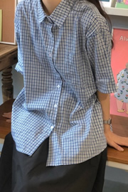 【官图】日系格子短袖衬衫女夏季设计感小众学生宽松百搭衬衣