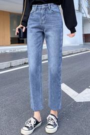 牛仔裤女加绒九分直筒裤子2020秋冬新款高腰厚绒百搭显瘦显高宽松