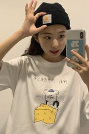 纯棉实拍#6631 短袖T恤女新款夏季上衣网红ins超火韩版宽松大码潮