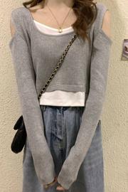 爆版假两件长袖T恤女春秋新款港风设计感小众修身学生短款上衣