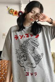 356#(实拍图6535棉)短袖T恤女哥斯拉卡通印花
