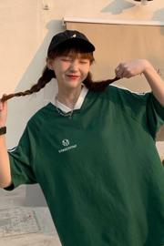 28#实拍 (6535环保撞白不掉色)2021新款运动风短袖学生t恤