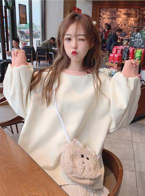 8446#(实拍)女装韩版小清新宽松显瘦网红上衣加绒加厚学生长袖