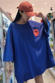 955#(实拍图6535棉)中长款口袋印花短袖T恤女大码