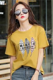 1902#实拍(1.25出货)纯棉卡通印花圆领短袖T恤女(95棉 5氨纶)