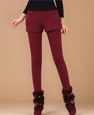 秋冬加绒加厚假两件打底裤女外穿大码显瘦修身保暖小脚裤裙