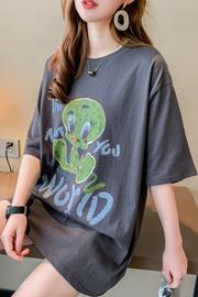 8825#实拍纯棉中长款涂鸦短袖T恤宽松半袖学生ins潮32支95棉5氨纶