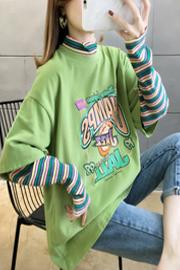 7622#(材料见详情) 春装2020假两件长袖T恤女【实拍】