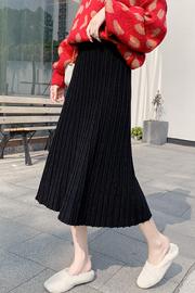 实拍#秋冬新款韩版针织半身裙中长款女百褶裙百搭纯色高腰a字裙子